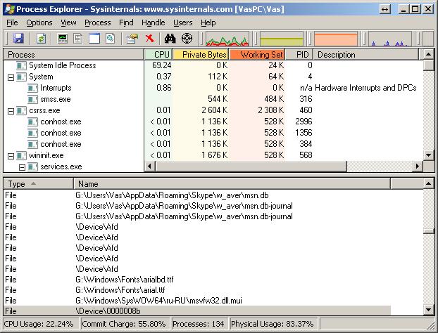 Process Explorer окно