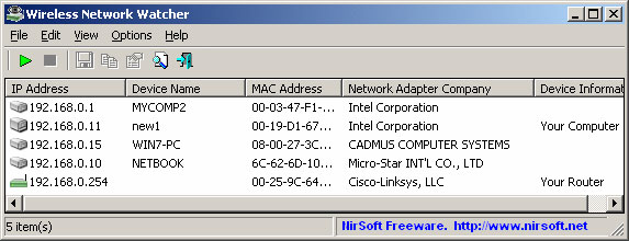 ИнтерфейсWireless Network Watcher