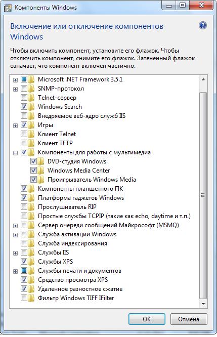 включение отключение компонентов Windows