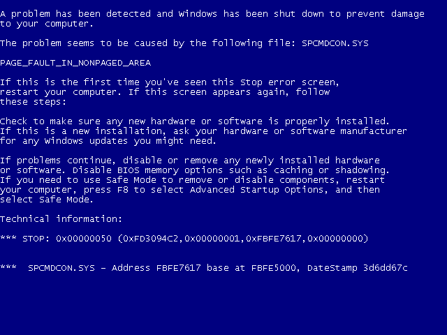 Причины синего экрана